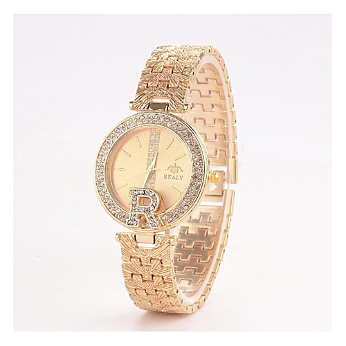 Top Luxury, ICE Studded Bracelet Wristwatch-Gold