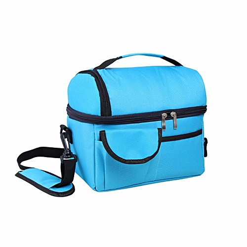 Insulated Portable Tote Work Picnic Travel Lunch Ice Bag Double Layer Blue