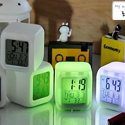 7 Colors Change Alarm Clock LED Light Digital LCD Clock Thermometer Calendar Date Time
