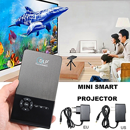 C2 Smart Mini Projector 1+8G Android 4.4 LED DLP Home Theater Projector WiFi BT EU Plug
