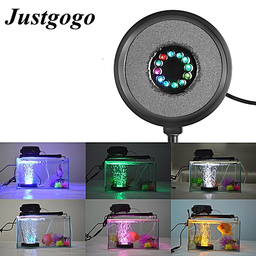 Justgogo Submersible Aquarium Light 12 Led RGB Fish Tank Underwater Lighting ,DC 12V Air Bubble Lamp , Garden Pool Pond Decorative Lighting , US Plug