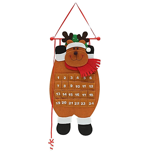 282194916632 Large Felt Christmas Advent Calendar With Pockets (Santa, Reindeer Or Snowman)
