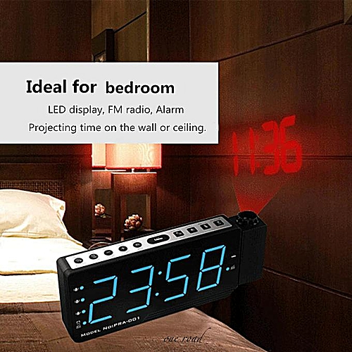 Digital Led Fm Radio Time Projection Alarm Clock Time Temperature Projector Gift