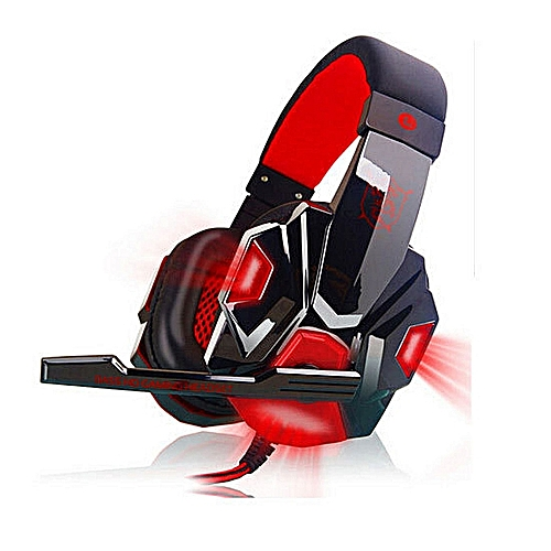 Casque Audio PC Gaming Headphone With Mic Stereo Bass(Black Red)