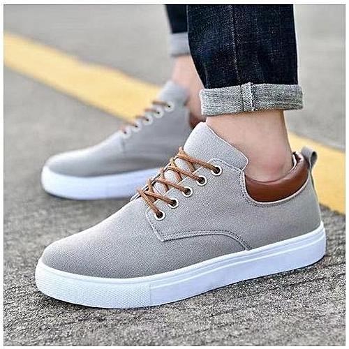 Big Size 39-47 Brand Solid Color Men Breathable Outdoor Casual Canvas Men's Shoes-grey