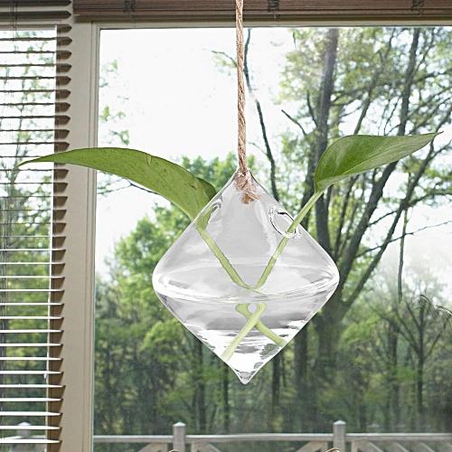 Clear Hook Glass Floewrpot Hanging Terrarium Air Potted Plant Vase Home Office Decor Rhombus