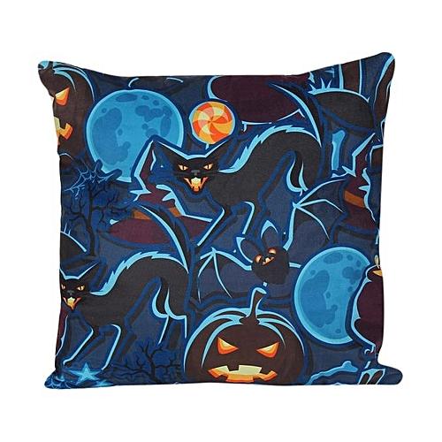 Houseworkhu Halloween Pillow Case Sofa Waist Throw Cushion Cover Home Decor E -BlueE