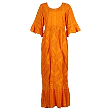 Ladies Swiss Voile Long Kaftan Designed with Lace and Wrapper- Orange