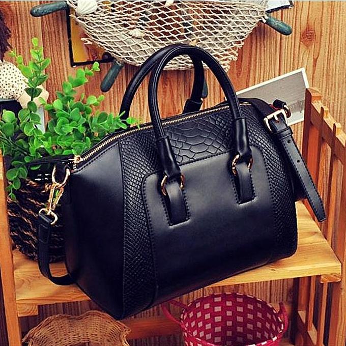 Por Women Shoulder Bag Faux Leather Satchel Cross Body Tote Handbag Black