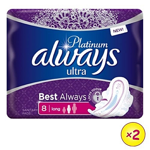 Always Platinum Ultra Sanitary Pad W/flexible Wings - 8 Pads (Pack Of 2)