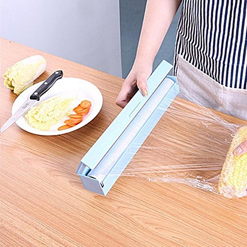 1Pc Kitchen Food Storage Plastic Wrap Dispenser Cling Film Cutter Cutting Box Holder