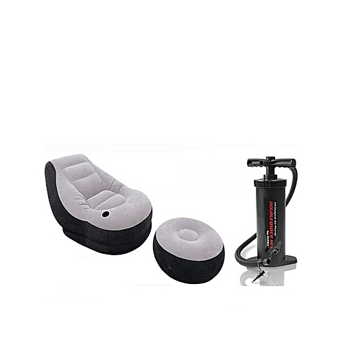 Grey And Black Inflatable Chair With Foot Rest And Pump