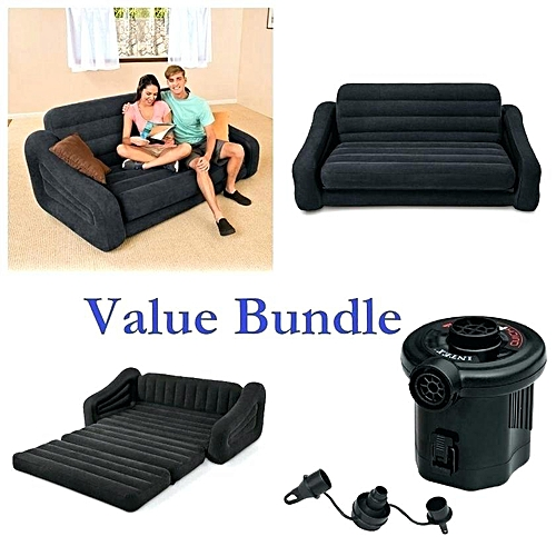 Intex Sofa And Airbed In Black Plus Electric Pump