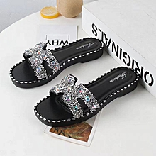 d76c1b8f61c4a Girls Womens Bling Sparkly Crystal Slides Sandals Slippers