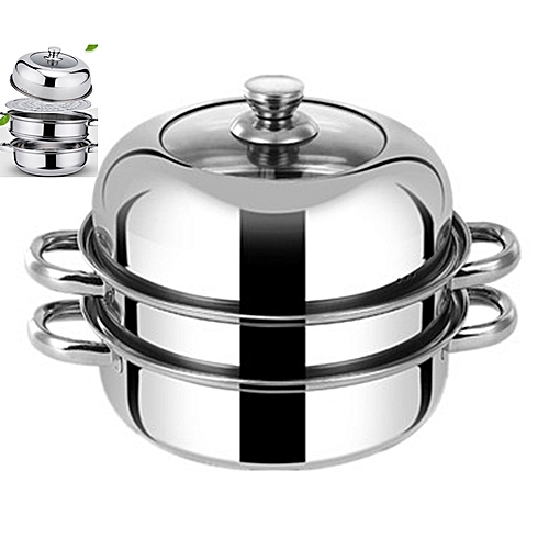 28CM Stainless Steel Steamer Pot Stew Pot 3 Layer Cooking Pot Can Be Induction Cooker