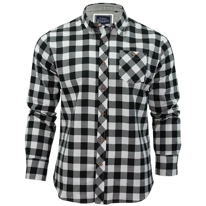 Zaful plaid long sleeve shirt white black buy online for Buy plaid shirts online