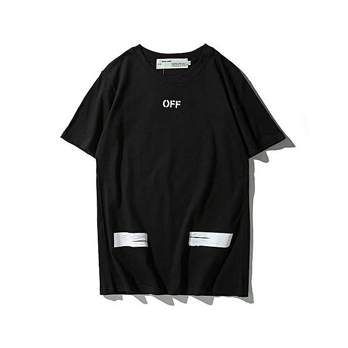 c8f752f183 Off White C/O Virgil Arrow Print Fashion Neck Short Sleeve T-shirt Casual  Tee