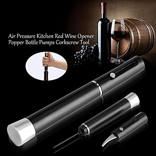 Air Pressure Kitchen Red Wine Bottle Opener Corkscrew Tool Black With Blade