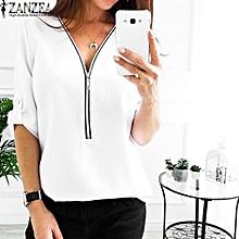 33bf39ecc71efc ZANZEA Women Low Cut Zipper Shirt Tops Casual Solid Loose Club Blouse Plus  Size