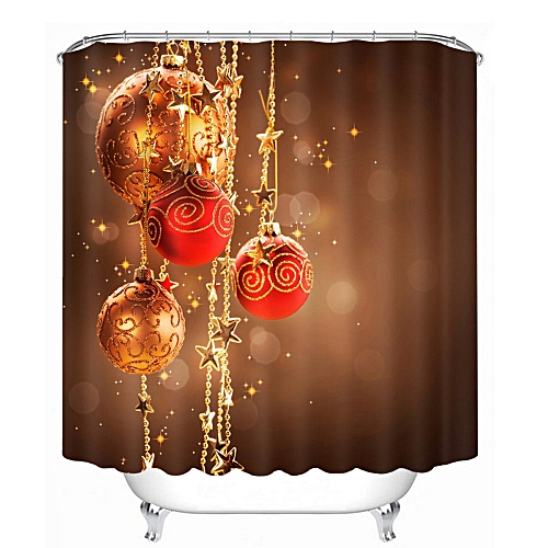 Dtrestocy 3D Christmas Waterproof Polyester Bathroom Shower Curtain Decor With 12 Hooks H