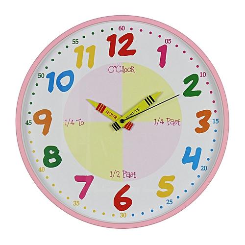 Hometime Wall Clock Teach The Time 30 Cm Pink