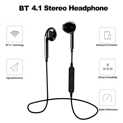 86e802b3d7d Generic S6 Bluetooth 4.1 Headphone In-ear Sports Music Headset Built-in  Microphone Wireless Sports Earphone