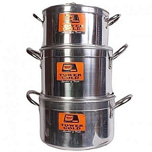 Pure Aluminium 3 Set Big Size Cooking Pot- TOWER GOLD