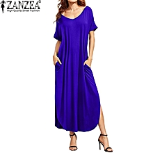 26097f8dc654 ZANZEA Women V Neck Short Sleeve Side Split Backless Beach Loose Casual  Solid Vestido Female Party
