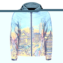 Zipper Up Cartoon City Streetscape Print Windbreaker_COLORMIX