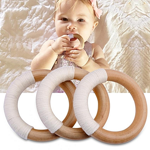 3PCS Wooden Teether Baby Toy Natural Wooden Wool Crochet Baby