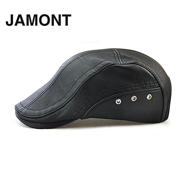 JAMONT 12982 Autumn Male Baseball Cap Men Beret Casual Peaked Cap Grid PU  Hat 9510c7ca4d0
