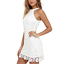b980a565967 Women Sexy Dress Sleeveless Lace Halterneck Round Collar Slim Style Skirt  Color white
