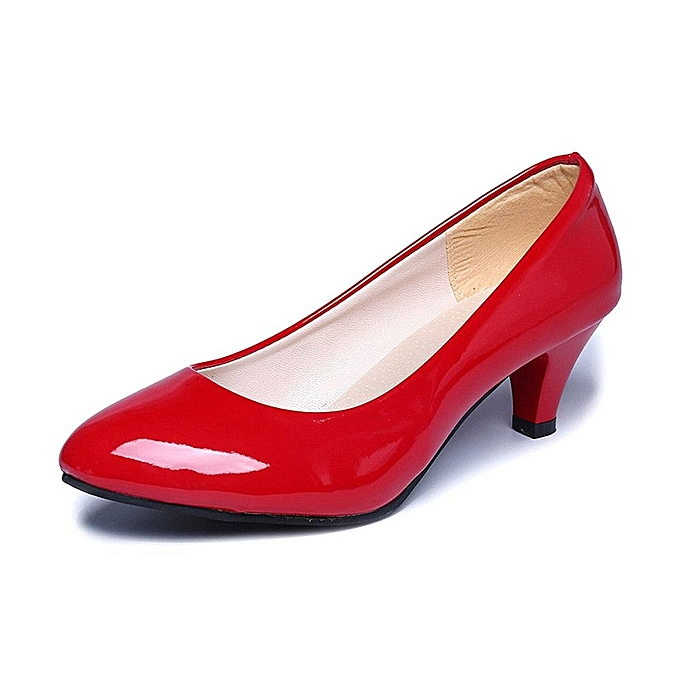 Nude Shallow Mouth Women Office Work Heels Shoes Elegant Ladies Low  Heel-Red (EU Sizing)