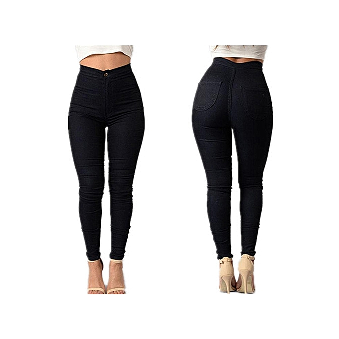 1ae555757736 Women Pencil Stretch Casual Denim Skinny Jeans Pants High Waist Trousers -Black