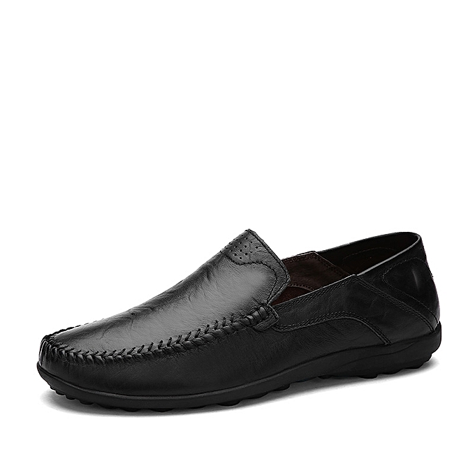 78d5c509bf6 Mens Soft Leather Loafer Flats Comfortable Driving Shoes Plus Size-Black