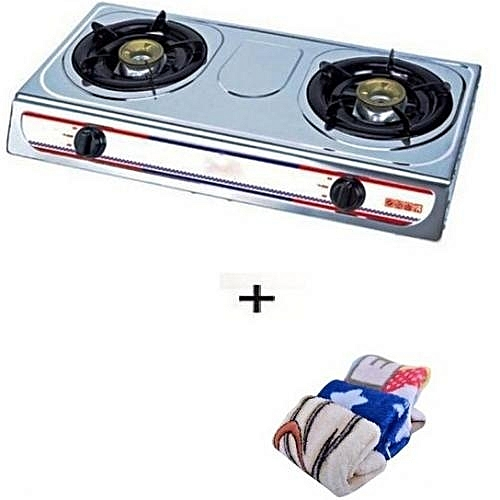 Eurosonic Table Top Gas Cooker 2 Burners + Free 3 In 1 Microfibre Kitchen Napkin