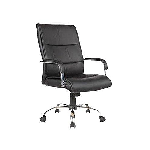 Swivel Chair Model 107 - Black Leather And Stainless
