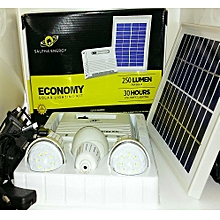 4000mAh 3 LED Light Bulbs Solar Economy Kit - Grey - Lithium Battery - DC Charging + USB Mobile Charging +Solar Panel