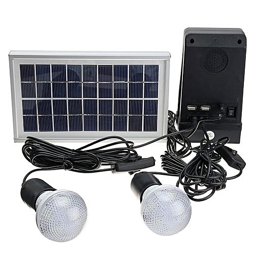 Solar Panel Power Generator LED Light USB Charger System With Bluetooth Speaker