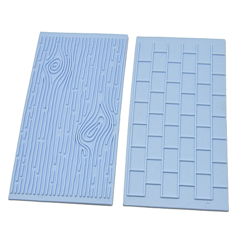 2pcs Cake Fondant Wall Brick Wood Grain Design Mold Embosser Mould Kitchenware