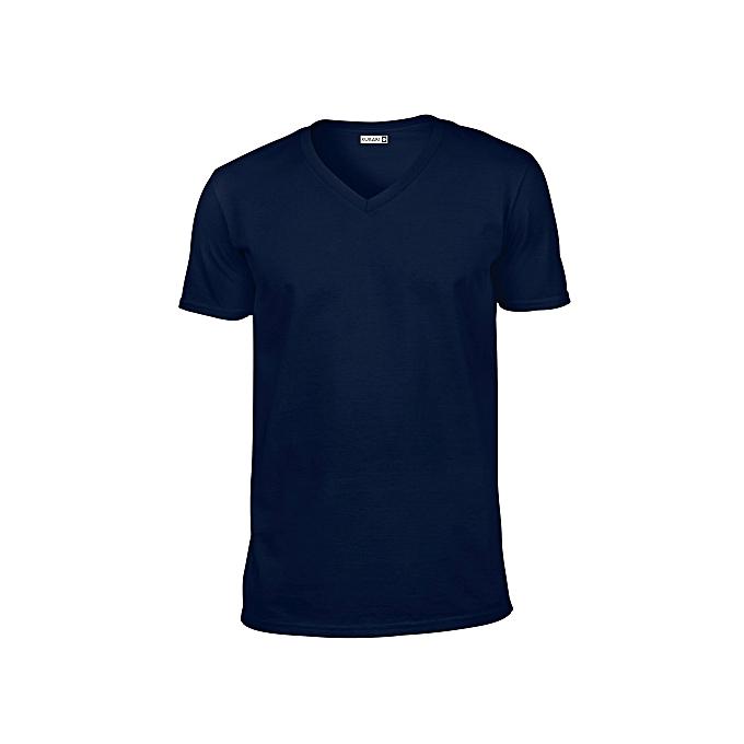 Rukari Plain V-neck T-shirt - Navy Blue | Jumia NG