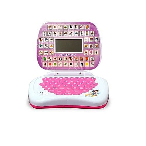 Mini Educational Laptop Toy With LCD - Pink