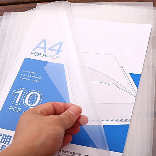 Generic 10 PCS Deli Transparent Single Page A4 Folder, Size: 32.1*30.7cm