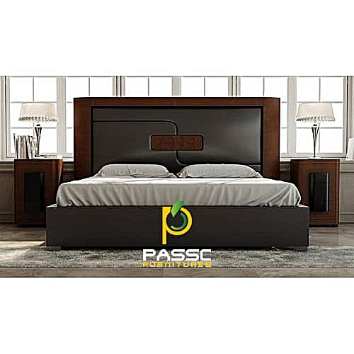 Passc Leather Bed Frame With Two Bedsides