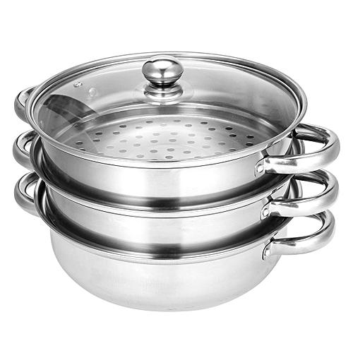 3 Tier Stainless Steel Steamer Induction Compatible Cookware 28cm Saucepan Pot