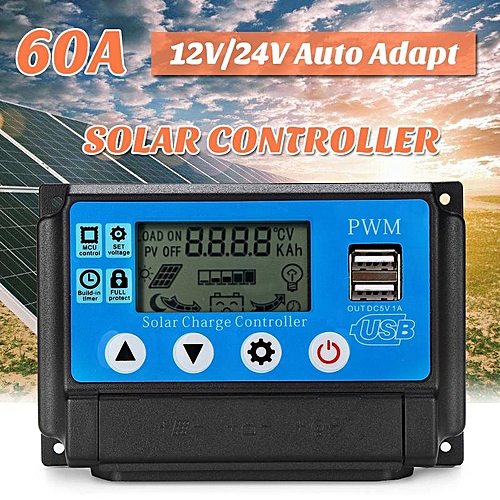 60A Solar Charge Controller 12V / 24V Automatic Adapt LCD Display USB Ports