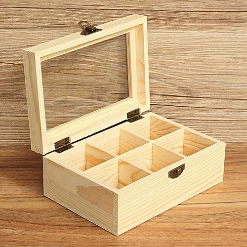 4PCS 6 Compartments Wooden Tea Bag Jewelry Organizer Chest Storage Box Glass Top Log