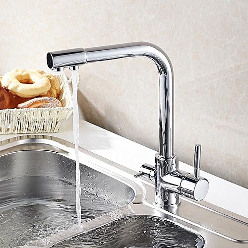 KCASA Kitchen Faucet Hot & Cold Water Purifier Faucet Single Hole Double Handle 360 Degree
