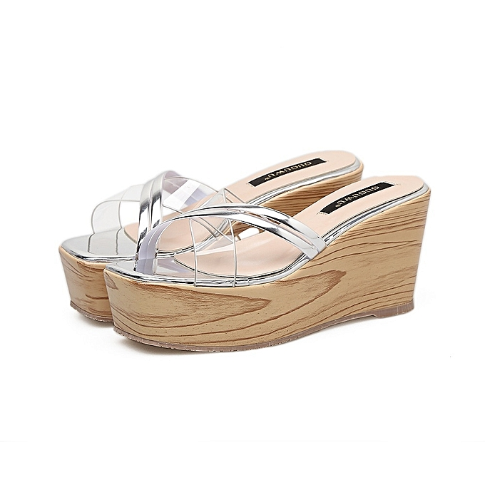 176314de5396 ITSYH-Women Summer Fashion Transparent Thick Bottom Slope Platform Slippers