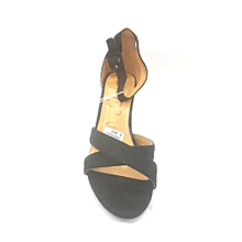 423ca53aa Ladies Ankle Strap Shoes Moderate Block Heel Sandal-BLACK